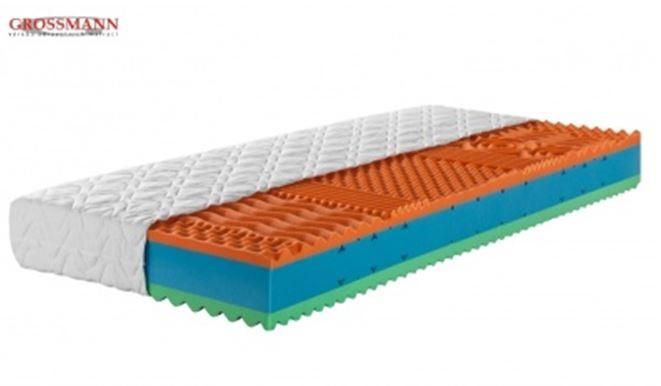 matrace VISCOFLEX - Luxusní sendvičová matrace z  vysoce kvalitní elastické sedmizónové studené pěny. v kombinaci s tzv.línou pěnou o síle 4cm – z obou stran, cena: 4 320 Kč (www.grossmann-matrace.cz)
