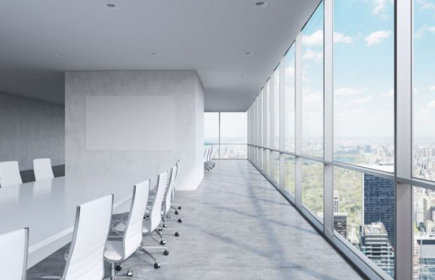 41927851 - modern panoramic conference room. a white rectangular table and chairs around it. manhattan view, new york city.