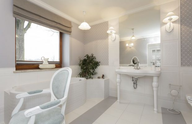 21121951 - tuscany - white bathroom with classic chair